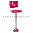 Model 1700-921<br>Classic Retro Counter Stool, Upholstered Swivel Seat, Chrome Column, and Tear Drop Base