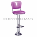 Model 1500-921<br>Classic Retro Counter Stool, Upholstered Swivel Seat with  Back, Chrome Column