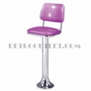 Model 1500-921-IV<br>Classic Retro Counter Stool, Upholstered Swivel Seat with Inverted Back, Chrome Column