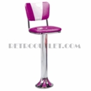 "Model 1700-921V<br>Classic Retro Counter Stool, Upholstered Swivel Seat with ""V"" Back, Chrome Column, and Tear Drop Base"