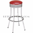 "Model 752<br>Retro Barstool<br>Non-Revolving Seat<br>Grooved Chrome Rings<br>30"" Height"