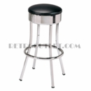 "Model 751<br>Retro Bar Stool<br>Non-revolving Seat<br>FLAT PANEL Chrome Ring<BR>30"" Height"