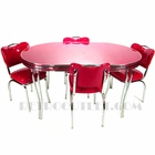 36x60 Oval Cracked Ice Dinette Set with Four Handle-Back Chairs