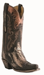 12� Ladies Lucchese Classics Bronze Flake / Black Python with Coolidge with Leaves Stitch Design L4156