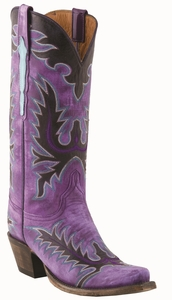 13�Ladies Lucchese Classic Destroyed Purple Gromwell Goat with Mayela Raya Stitch Design L4729
