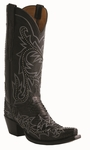 13� Ladies Lucchese Classics Black Belly Hand Python with Lann and Studs Stitch Design L4157