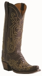 13� Ladies Lucchese Classics Chocolate Belly Hand Python with Lann and Studs Stitch Design Design L4159