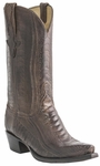 Mens Lucchese Classics Chocolate Burnished Ostrich Leg Custom Hand-Made Boots L1449