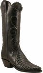 Ladies Lucchese Classics Black Triad Ultra Crocodile Custom Hand-Made Western Boots L4125