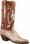 Ladies Lucchese Classics Cognac Silver Metallic Caiman Crocodile Custom Hand-Made Western Boots L4131