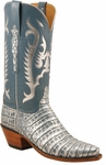 Ladies Lucchese Classics Jeans Blue Silver Metallic Caiman Crocodile Custom Hand-Made Western Boots L4128