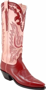 Ladies Lucchese Classics Mayela Raspberry Buffalo Leather Custom Hand-Made Tall Boots L4608