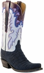 Lucchese Classic Lucchese Classic with Cooledge Stitch Pattern and Collar Navy Suede Caiman L4147