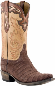 Lucchese Classic with Roberto Stitch Pattern Collar and Pullstrap Chocolate Suede Belly Caiman L1432
