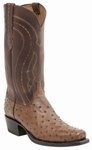 "Lucchese Men's ""Montana"" Full Quill Ostrich Tan Burnished Leather Boot M1606"