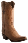 Lucchese Mens Classics Tan Burnished Mad Dog Smooth Ostrich Leather Cowboy Boots E2201