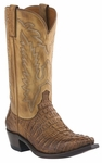 Mens Lucchese Since 1883 Tan Burnished Caiman Tail Crocodile Cowboy Boots M2502