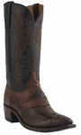 "Lucchese Men's""Beauford"" Barrel Brown Hornback Caiman Crocodile Cowboy Boots M2535"