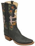 Mens Lucchese Classics Black African Elephant Custom Hand-Made Cowboy Boots L8011
