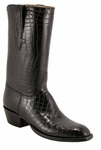 Mens Lucchese Classics Black American Alligator Belly Bias Cut Custom Hand-Made Boots L1067