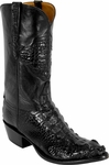 Mens Lucchese Classics Black American Alligator Head Mission Inlay Custom Hand-Made Boots L1013