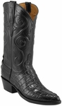 Mens Lucchese Classics Black American Alligator Tail Custom Hand-Made Cowboy Boots L1059
