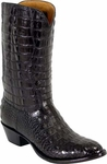 Mens Lucchese Classics Black American Alligator Top & Bottom Custom Hand-Made Boots L1001