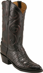 Mens Lucchese Classics Black Cherry American Alligator Tail Custom Hand-Made Boots L1058