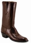 Mens Lucchese Classics Black Cherry Brush Off American Alligator Bias Cut Custom Hand-Made Leather Boots L1066