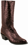 Mens Lucchese Classics Black Cherry Brush Off  Full Quill Ostrich Top and Vamp Custom Hand-Made Leather Boots L1158