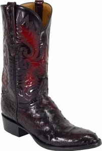 Mens Lucchese Classics Black Cherry Full Quill Ostrich Custom Hand-Made Boots L1173