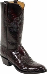 Mens Lucchese Classics Black Cherry Full Quill Ostrich Custom Hand-Made Boots L1182