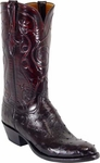 Mens Lucchese Classics Black Cherry Full Quill Ostrich Custom Hand-Made Boots L1191