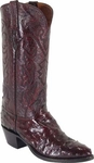 Mens Lucchese Classics Black Cherry Full Quill Ostrich Custom Hand-Made Cowboy Boots L1164