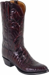 Mens Lucchese Classics Black Cherry Garment American Alligator Belly Custom Hand-Made Boots L1078