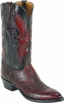 Mens Lucchese Classics Black Cherry Smooth Ostrich Custom Hand-Made Boots L1203