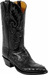 Mens Lucchese Classics Black Full Quill Ostrich Custom Hand-Made Boots L1177