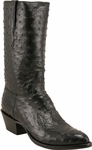 Mens Lucchese Classics Black Full Quill Ostrich Top & Bottom Custom Hand-Made Boots L1163