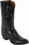 Mens Lucchese Classics Black Garment American Alligator Belly Custom Hand-Made Boots L1079