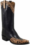 Mens Lucchese Classics Black Glove Calf Custom Hand-Made Cowboy Boots L1609