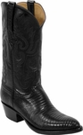 Mens Lucchese Classics Black Lizard Custom Hand-Made Boots L1211