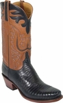 Mens Lucchese Classics Black Lizard Custom Hand-Made Cowboy Boots L1289