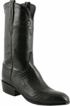 Mens Lucchese Classics Black Lizard with Kennedy Band Custom Hand-Made Leather Boots L9401