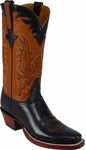 Mens Lucchese Classics Black Oil Calf Leather Custom Hand-Made Boots L1589