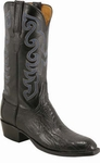 Mens Lucchese Classics Black Ostrich Leg Custom Hand-Made Cowboy Boots L1357