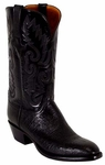 Mens Lucchese Classics Black Smooth Ostrich Custom Hand-Made Boots L1201