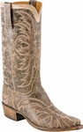Mens Lucchese Classics Brown Aviator with Talon Stitch Pattern & Short Straight Collar Leather Custom Hand-Made Boots L1683
