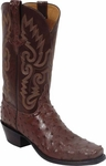 Mens Lucchese Classics Cigar Full Quill Ostrich Custom Hand-Made Boots L1275