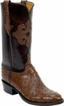 Mens Lucchese Classics Cigar Full Quill Ostrich Custom Hand-Made Boots L1276