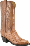 Mens Lucchese Classics Cognac Full Quill Ostrich Custom Hand-Made Boots L1175
